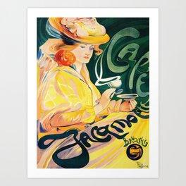 Vintage Art Nouveau Cafe Ad Art Print