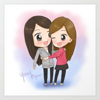 snsd Art Prints featuring SNSD Yoona&Seohyun Maknae couple by mewzim