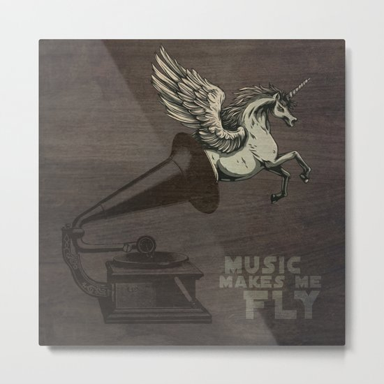 Music makes me fly Metal Print