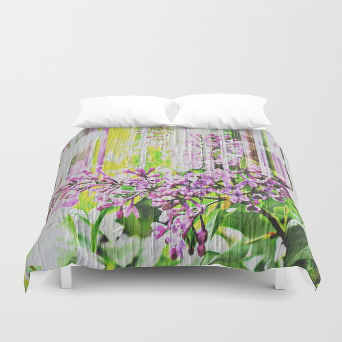White Washed Painted Lilac Duvet Cover