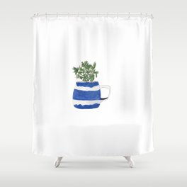 Blue stripes and parsley Shower Curtain
