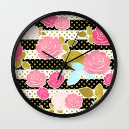 Fun Chic Roses & Black and White Stripes with Gold Dots Wall Clock