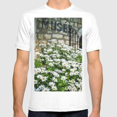 Museum & wild flowers - France MEDIUM Mens Fitted Tee White