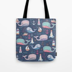 Whale Toss Tote Bag