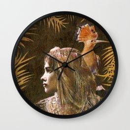 Vintage Decorative Girl and Bird Portrait Wall Clock