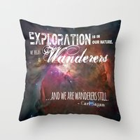 "carl sagan Throw Pillows featuring ""Exploration is in Our Nature"" Carl Sagan Quote by kishbish"