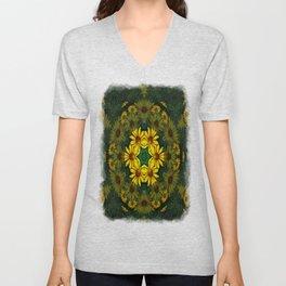 Large Yellow Wildflower Kaleidoscope Art 10 Unisex V-Neck