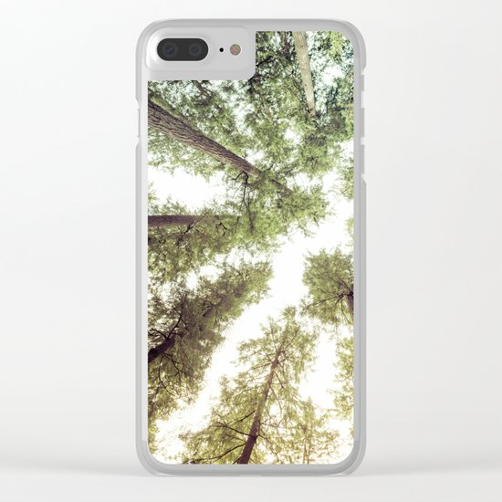 Green Forest Sky Trees Clear iPhone Case