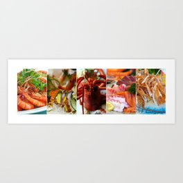 Collage of Seafood - Cafe or Restaurant Decor Art Print