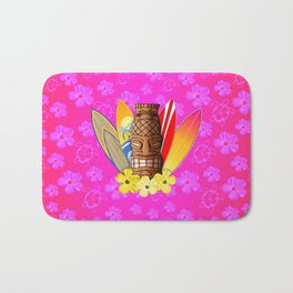 Surfboards And Tiki Mask Pink Flowers Bath Mat