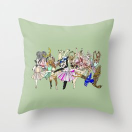 Animal Ballet Hipsters - Green Throw Pillow