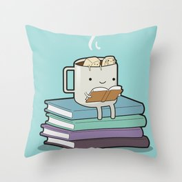 A hot cup and a good book Throw Pillow