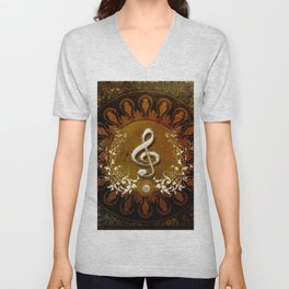 Music, wonderful decorative clef Unisex V-Neck
