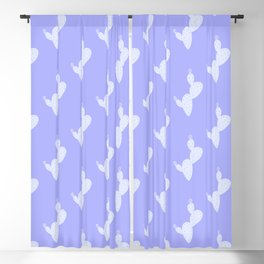 Tropical blue lilac white cactus floral pattern Blackout Curtain