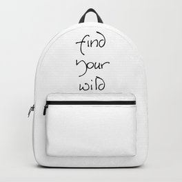 Find Your Wild - Black on White Backpack