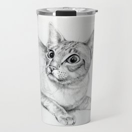 Siamese Cat Hunting Pencil drawing Pet illustration Decor for cat lover Travel Mug