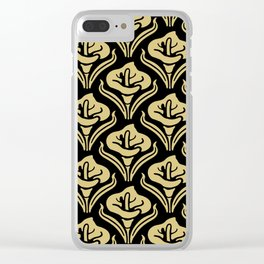Calla Lily Pattern Black and Gold Clear iPhone Case