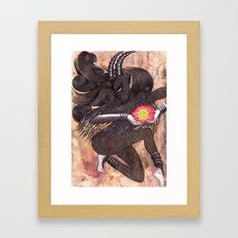 Capricorn, The Ambitious Goat: Dec 22 - Jan 20 / Original Gouache On Paper Framed Art Print