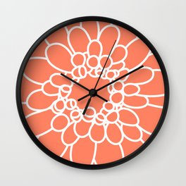Coral Chrysanth Wall Clock