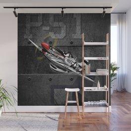 WW-II Warbird P-51 Mustang Airplane Cartoon Wall Mural