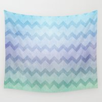 under the sea Wall Tapestries featuring under the sea chevron by Sylvia Cook Photography