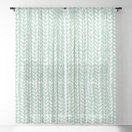 Knit Wave Mint Sheer Curtain