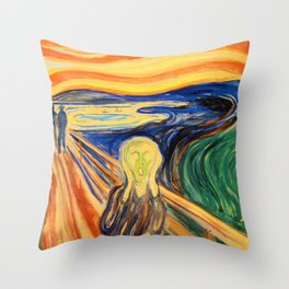 The Scream 1910 - Digital Remastered Edition Throw Pillow