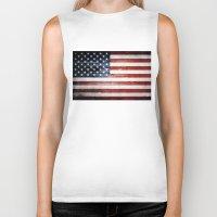 american flag Biker Tanks featuring American flag by Nicklas Gustafsson