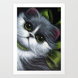 TUXEDO PERSIAN CAT with GREEN EYES & BOW...YOUR GIFT Art Print