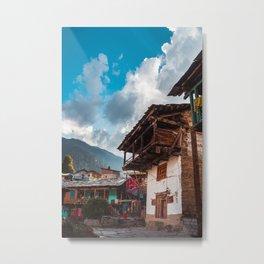 Traditional Homes, Manali- India Metal Print