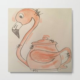 Flamingo Teapot Metal Print