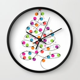 Colorful Christmas tree made of light bulb new year greeting card Wall Clock