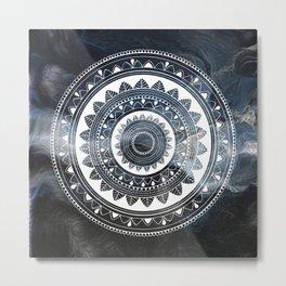 Ukatasana white mandala on sky Metal Print