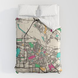 Colorful City Maps: Amsterdam, Netherlands Comforters