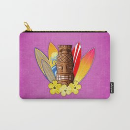 Surfboards And Tiki Mask Pink Carry-All Pouch