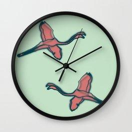 Pink Flamingo watercolor pattern mint Wall Clock