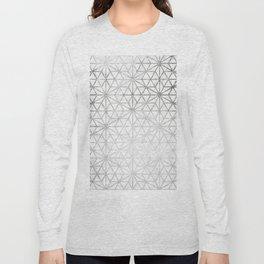 Modern silver stars geometric pattern Christmas white marble Long Sleeve T-shirt