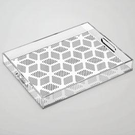 Geometric Line Lines Diamond Shape Tribal Ethnic Pattern Simple Simplistic Minimal Black and White Acrylic Tray