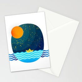 035 Owl's egg travelling the sea at night Stationery Cards