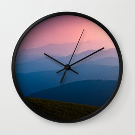 Pink & Blue Mountains Wall Clock