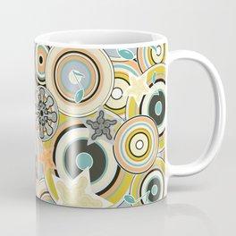 Seventies Bohemian Rock Inspired Geometric Circles and Stars in Navy and Green Coffee Mug