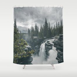Landscape Athabasca Falls Christmas Shower Curtain