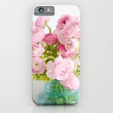 Dreamy Shabby Chic Ranunculus Peonies Roses Print - Spring Summer Garden Flowers Mason Jar iPhone 6s Slim Case