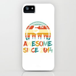 """Birthday Shirt For Those Who Were Born In 2014 With A Retro Vintage """"5th"""" Theme T-shirt Design iPhone Case"""