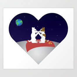Belka and Strelka on the moon Art Print