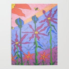 Blue Bohemian Garden Art Poster
