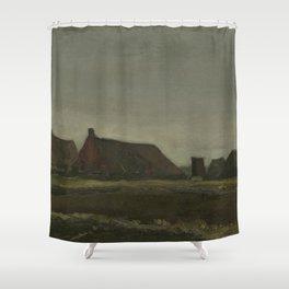 """Vincent van Gogh - Cottages """"Hutten"""" (1883) Shower Curtain"""