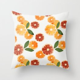 sliced oranges and spring watercolor Throw Pillow