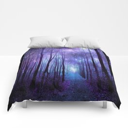 Fantasy Forest Path Icy Violet Blue Comforters