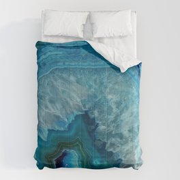 Blue agate marble faux druse crystal quartz gem gemstone geode mineral stone photograph hipster Comforters